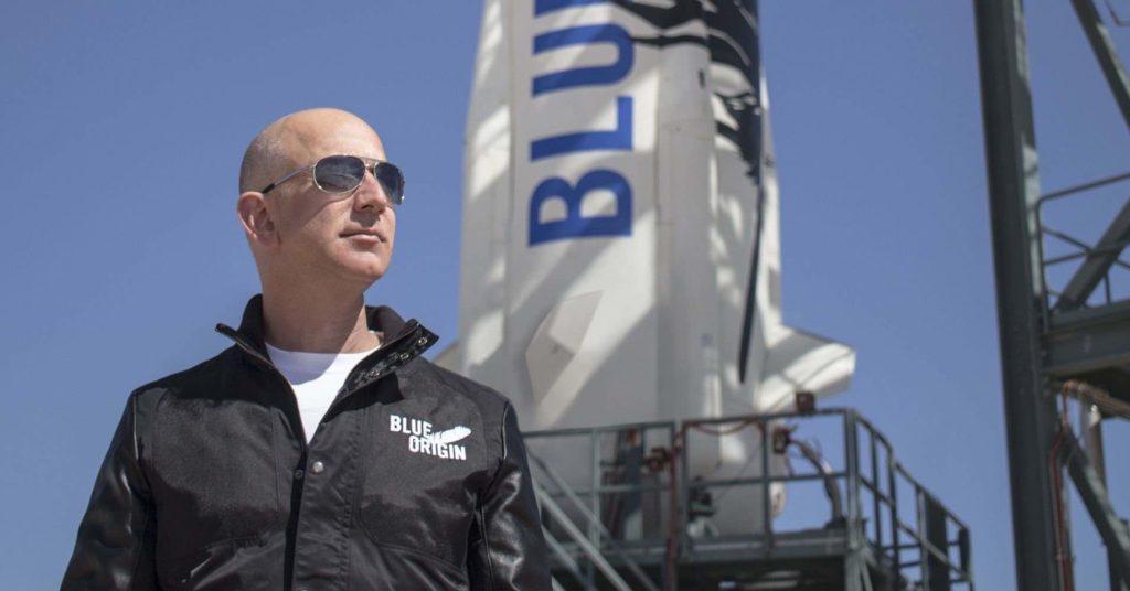 Jeff Bezos picture in his company blue origins.