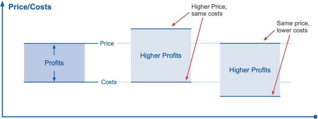 How price and costs affect profits