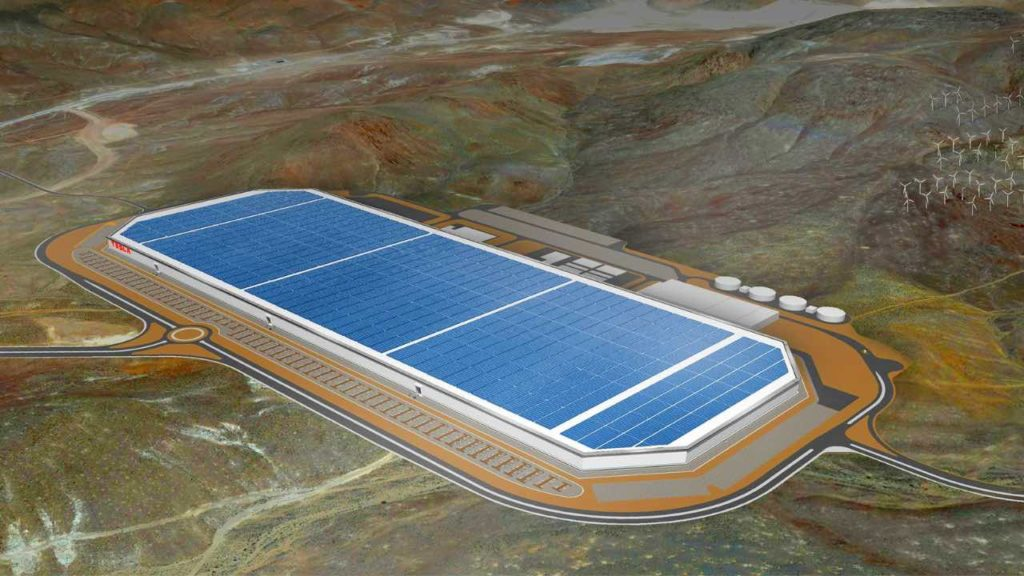 Rendering of Tesla's Gigafactory 1 provided by Tesla