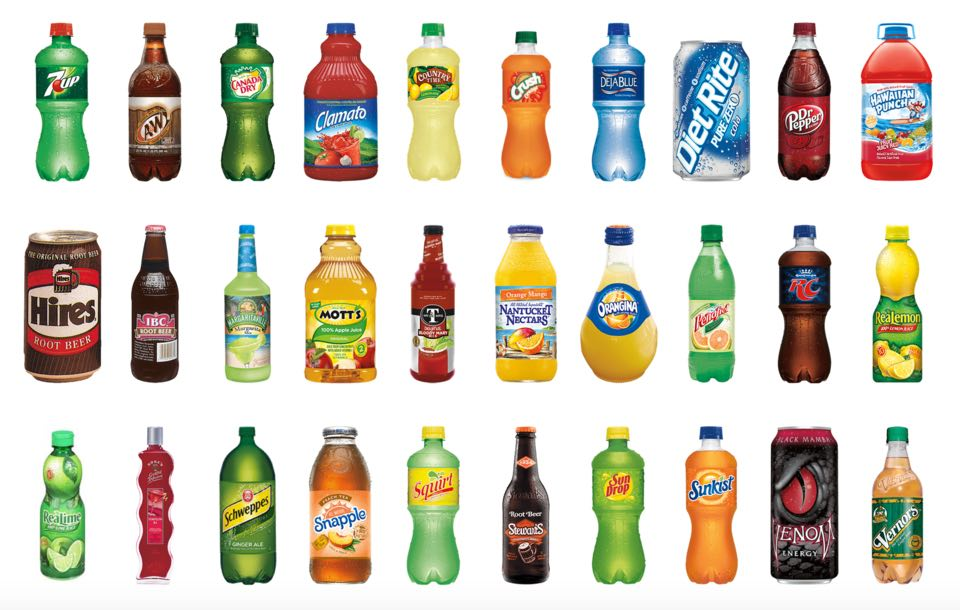 Different brands belonging to DR Pepper Snapple group. This is at the core of their differentiation strategy.